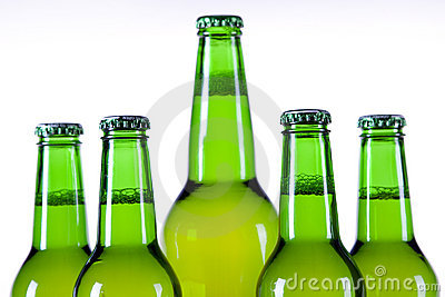 Chilled beer on white background
