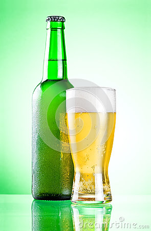 Chilled green bottle with condensate