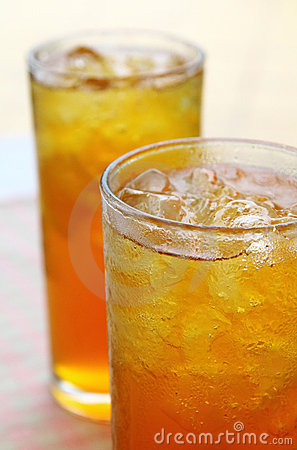 Chilled iced lemon tea