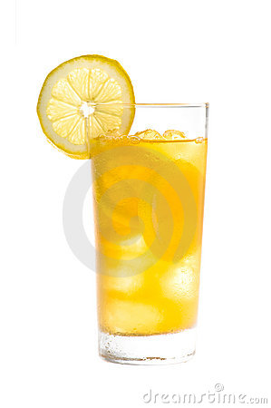 Free Chilled Lemon Ice Tea Over White Royalty Free Stock Photography - 18889377
