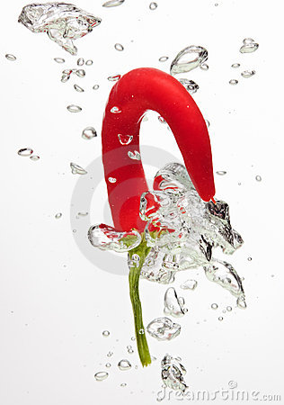 Chilli pepper falling in water on white