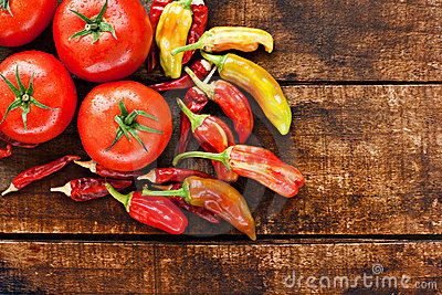 Chilli peppers and tomatoes