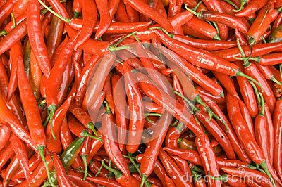 Chillies on Market Stall, Cambodia