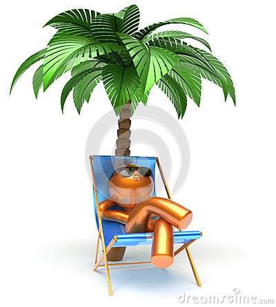 Chilling Man Character Palm Tree Relaxing Beach Deck Chair