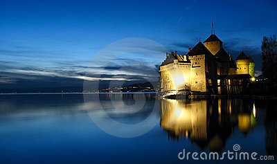 Chillon Castle night, Switzerland