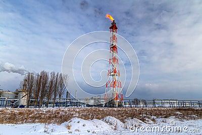 Chimeneas del rafinery polaco del petróleo en Gdansk