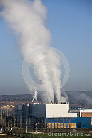 Chimney expelling pollutant gases to the air