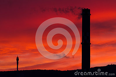 Chimney and Red Sky
