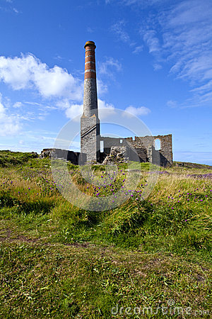Chimney Remains at Levant Tin Mine in Cornwall