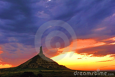 Chimney Rock Landmark in Nebraska after Sunset