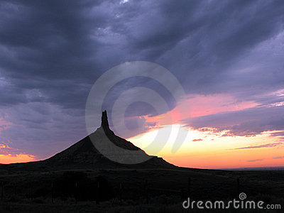Chimney Rock in Nebraska at Dusk