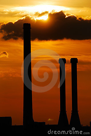 Chimney silhouettes in sunset