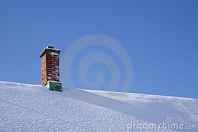 Chimney On Snowy Roof