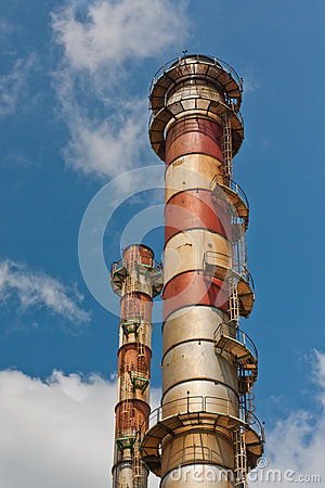 The chimney stack of steel plant
