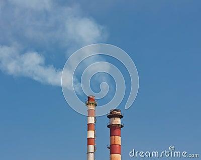 Chimney stack whit fume