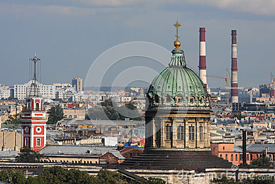 Chimneys and domes in the sky of St-Petersburg