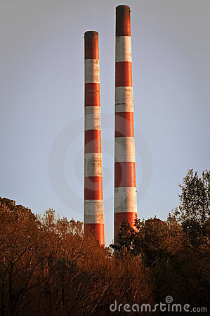 Chimneys at electric plant