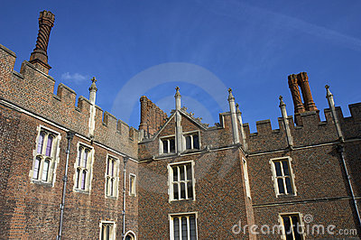 Chimneys & facade of Hampton Court Palace Building