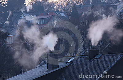 Chimneys of residential houses