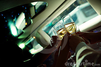 Chin-chin in the limousine
