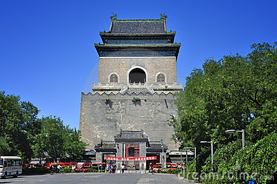 China Beijing central axis-Drum Tower Editorial Photography