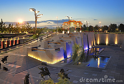 China Beijing Olympic Park night scenes Editorial Stock Photo