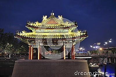 China Beijing Olympic Park night scenes Editorial Image