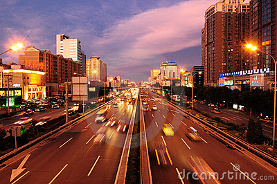 China Beijing  Street, Traffic,Night scene Editorial Photography