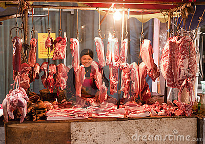 China: Butcher stall Editorial Photo