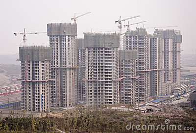 China: Construction site in a polluted city