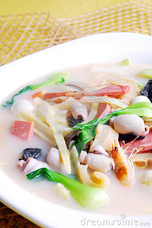 China delicious food-- bamboo shoots and squid sou