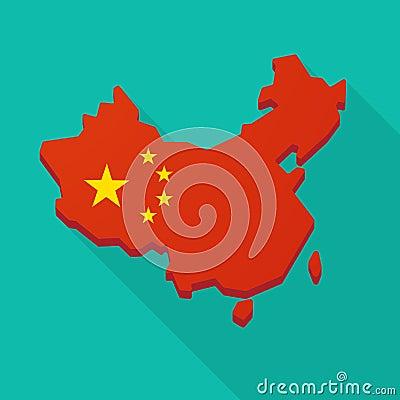 Free China Flag Map Long Shadow Icon Stock Photo - 48434110