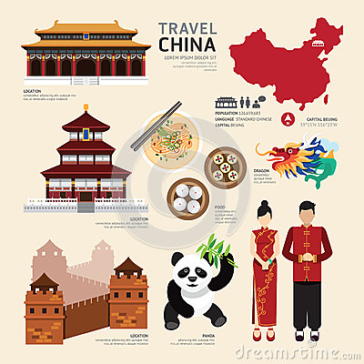 Free China Flat Icons Design Travel Concept.Vector Stock Photos - 44629713