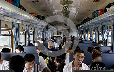 China - inside a train Editorial Stock Image
