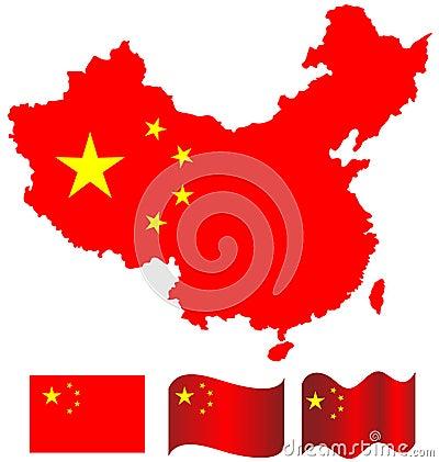 Free China Map And Flag Of China Royalty Free Stock Image - 36093916