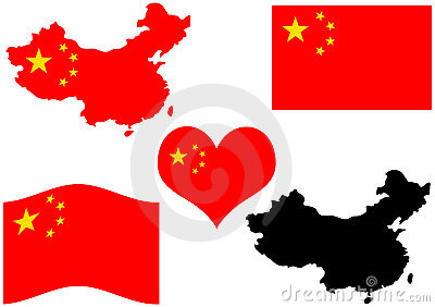 China map with flag and heart