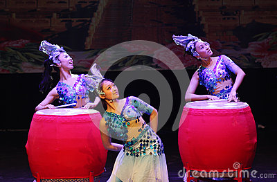 China Modern Youth Orchestra plays drums at Bahrain. Editorial Stock Image