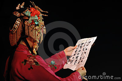 China opera  actress look letter