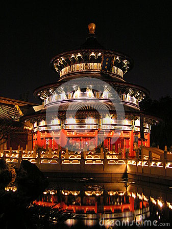 The China pavilion at Epcot in Walt Disney World Editorial Stock Photo