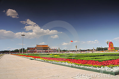 China is preparing for the 90th on Tiananmen Editorial Stock Photo
