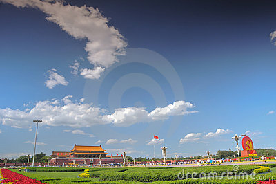 China is preparing for the 90th on Tiananmen Editorial Stock Image