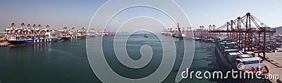 China Qingdao port container terminal Editorial Image
