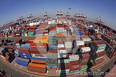 China Qingdao Port Container Terminal Editorial Photo