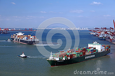 China Qingdao Port Container Terminal Editorial Stock Image