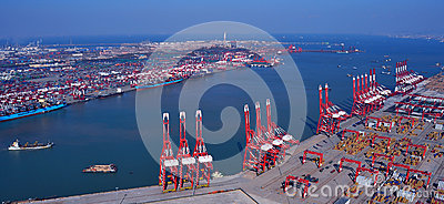 China Qingdao Port Container Terminal Editorial Photography