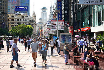 China shanghai nanjing road pedestrian street Editorial Stock Photo
