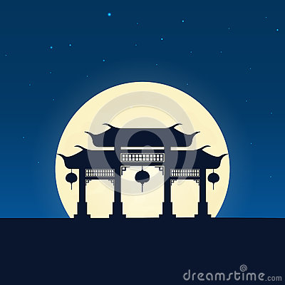 Free China Silhouette Of Attraction. Travel Banner With Moon On The Night Background. Trip To Country. Travelling Illustration. Stock Photo - 92181830