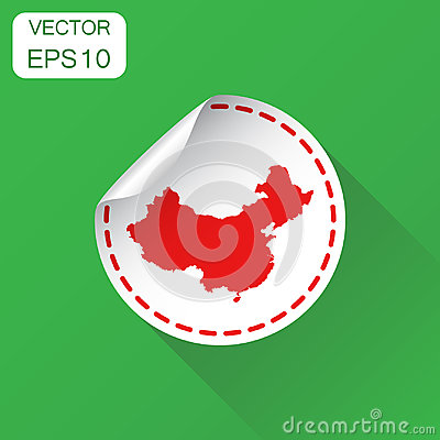 Free China Sticker Map Icon. Business Concept China Label Pictogram. Stock Image - 98145701
