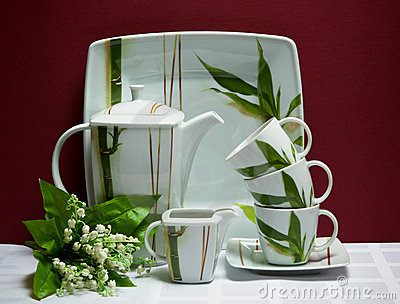 China tea-set with lily of the valley