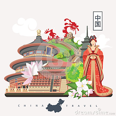Free China Travel Illustration With Chinese Girl. Chinese Set With Architecture, Food, Costumes, Traditional Symbols. Chinese Tex Royalty Free Stock Images - 75121589